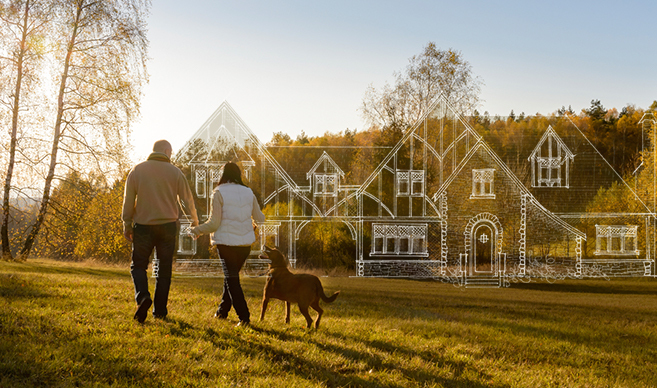 A couple walking in Bearspaw dreaming of what their new acreage home will look like